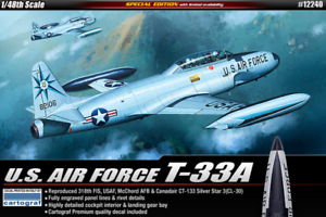 Academy-1-48-USAF-T-33A-Shooting-Star-Special-Edition-Plastic-Scale-Model-Kit