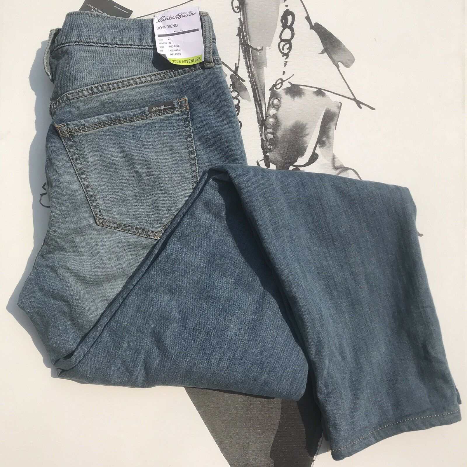 bfd1f414f3e872 Mid Rise Relaxed Lined Boyfriend Jeans Eddie Bauer Fit Flannel ...