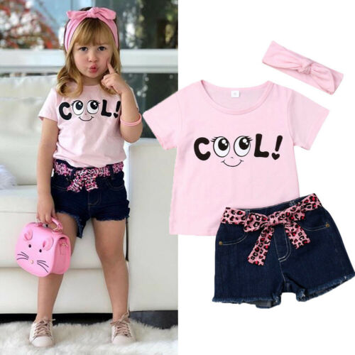US Toddler Kid Baby Girl Short Sleeve Tops Denim Pants Jeans Outfit Set Clothes