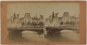 Hotel De Ville De Paris Francia Foto Stereo PL28Th1n6 Vintage Albumina c1868