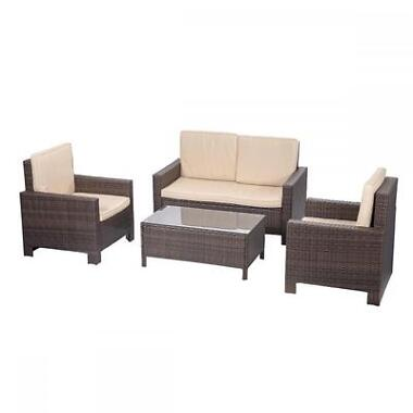 FDW PE Rattan Wicker 4-Piece Patio Sofa Set