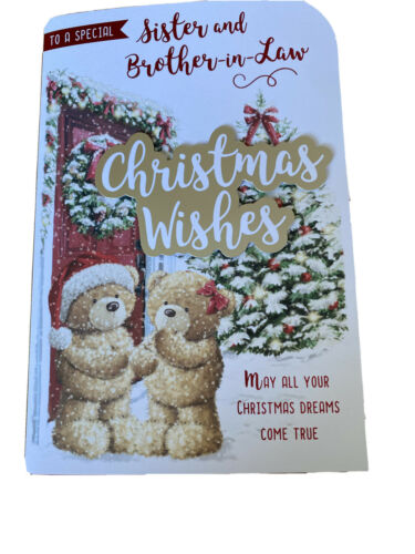 CHRISTMAS greeting card soeur /& beau-frère de carte gros Mignon Ours