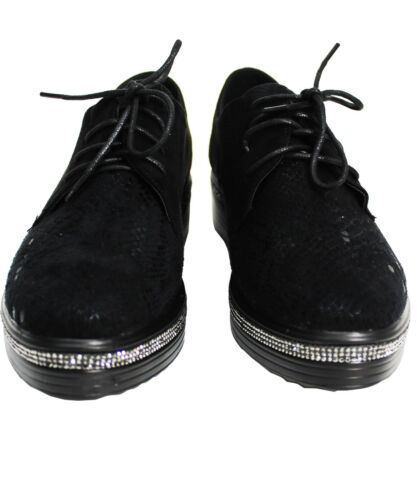 Ladies Women Flat Plat form Lace Up Self Print Creepers Ankle Boots Diamonte Siz
