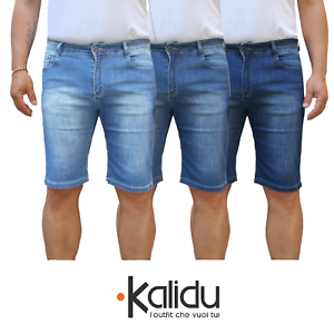 Bermuda-Uomo-Jeans-Denim-Corto-Tasche-America-Pantaloncino-Blu-Shorts-Casual-t