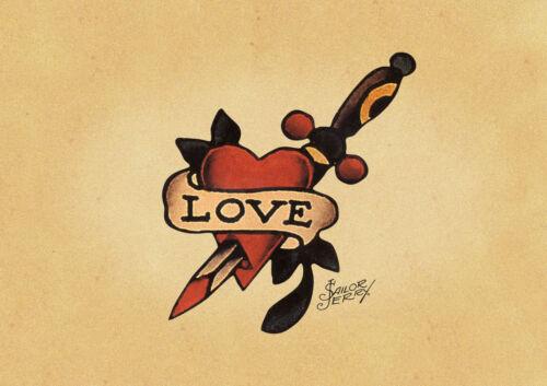 Sailor Jerry Love Tattoo Art Print//Poster