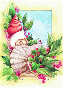 image is loading coastal holiday shells box of 18 warm weather - Tropical Christmas Cards