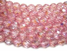 9mm Cotton Candy Pink AB Czech Glass Firepolished Round Beads (10) #3789