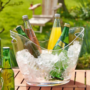 1 piece Ice Bucket Wine Cooler Bottles Cooling Beer Bottle Holder Clear 4L