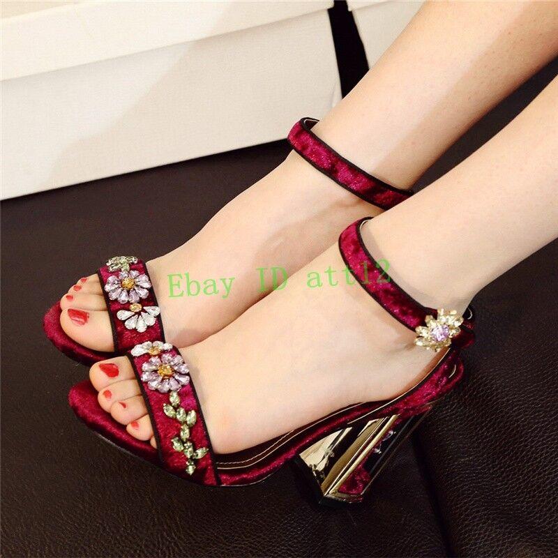 Rhinestones Donna Open Toe Sandal Wedding Ankle Strap Block Flower New Shoes