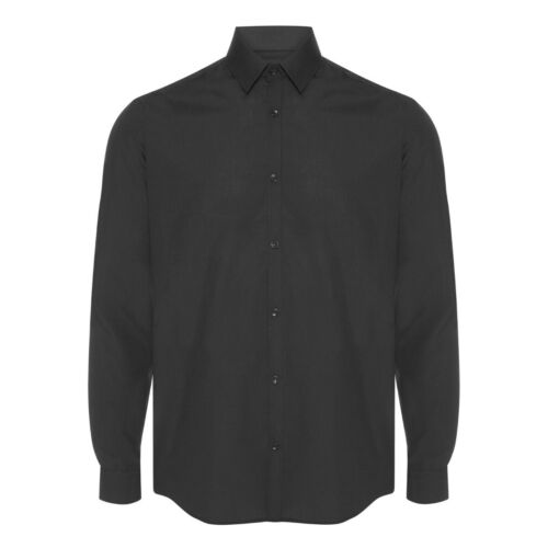 Mens Black Formal Shirt Long Sleeve Regular Fit Plain Business Work Collar Smart