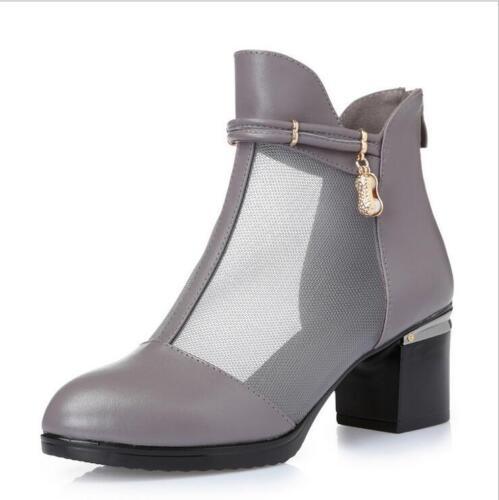 Damen Sommer Stiefel Kunstleder Spitze Kuban Absatz Strassstein Ankle Boots