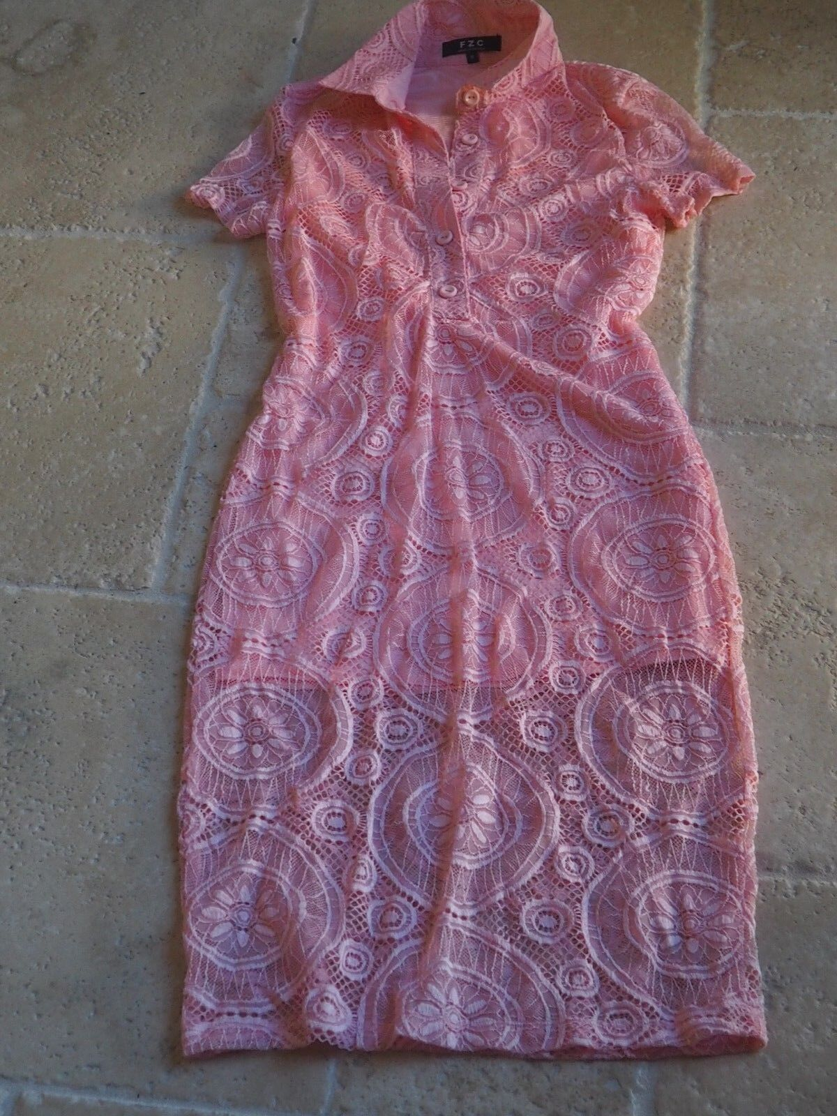 4f87c0dd9c5 DESIGNER F Z C COLORS OF THE WIND PASTEL PINK STRETCHY LACE MIDI FITTED  DRESS S
