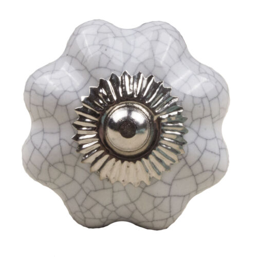 Möbelknopf Porzellan Möbelknauf Schublade Keramik Weiß krakeliert Blume CK2014