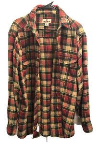 Woolrich-Mens-Long-Sleeve-Plaid-Heavy-Flannel-Button-Down-Shirt-M-Warm