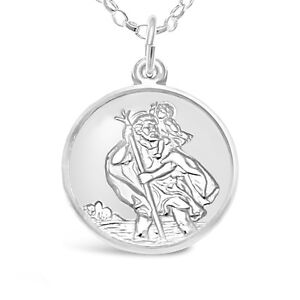 STERLING SILVER ST SAINT CHRISTOPHER PENDANT CHAIN NECKLACE TRAVEL BACK Precious Metal without Stones Jewelry & Watches