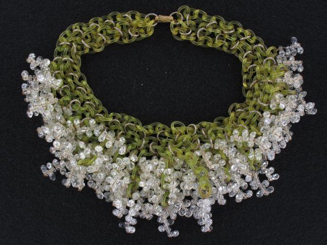Incredible Art Glass and Light Avocado Green Celluloid Collar Necklace (NK1992)