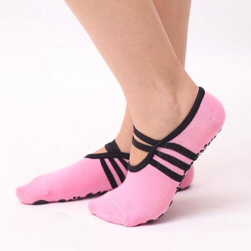 1Pair Women Non Slip Yoga Socks with Grip for Pilate Ballet Dance Gym Sports VCD