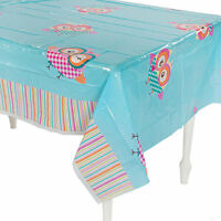 Gingham Owl Tablecloth Table Cover Girl's Plastic Birthday Party Decorations