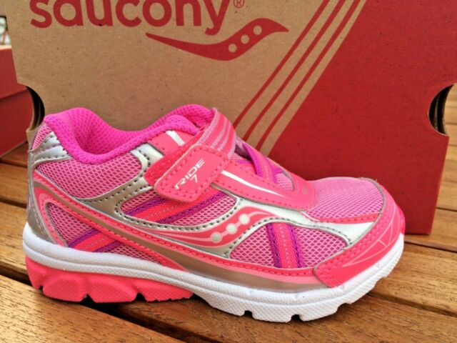a9237757f9 Details about Non Tie Sneakers Saucony Baby Ride Little Girls NIB Size 8  1/2 M