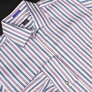 PAUL-SMITH-Dress-Shirt-Purple-Blue-White-Stripe-Recent-Size-16-1-2-x-35-Italy