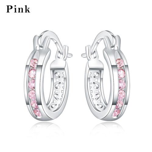 Zircon Stones Crystal Rhinestone 925 Silver Plating Small Hoop Earrings