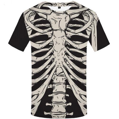 Skeleton Bone Pattern Casual Women Men T-Shirt 3D Print Short Sleeve Tee Tops