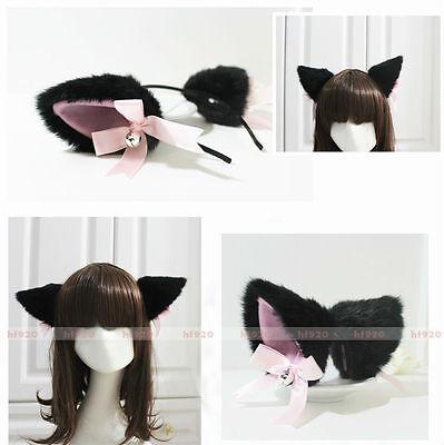 New Party Anime Cosplay Costume BLACK Long Fur Neko Cat ears Hair Clip Headband