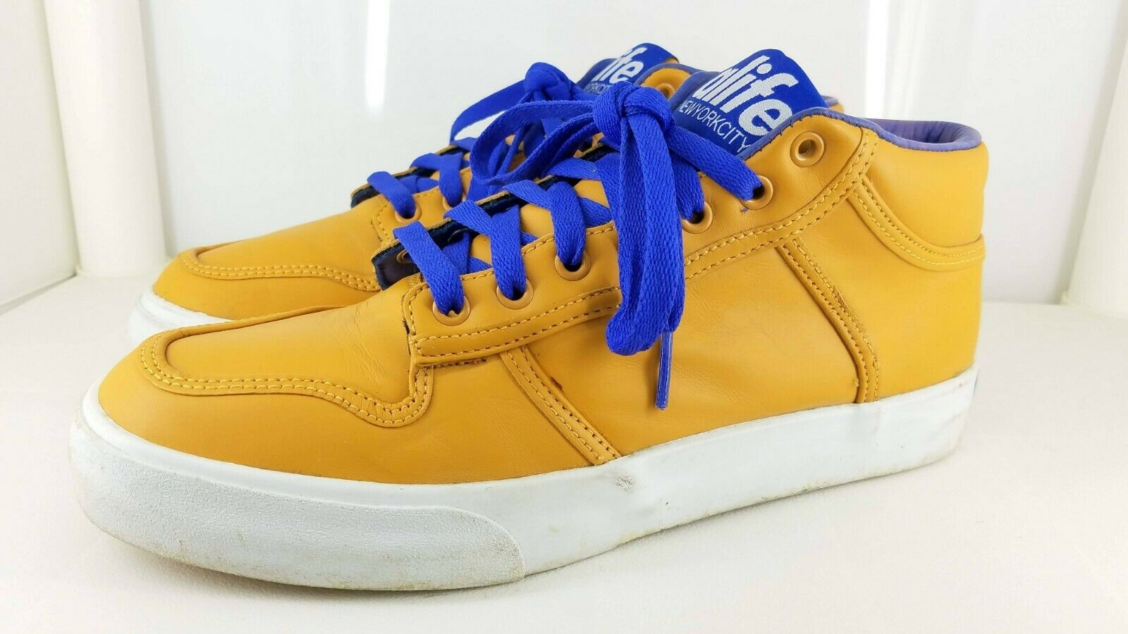 69cebd92f90d9 Alife Everybody Mid Leather Sneakers MEN S SIZE 8 Mustard Purple White