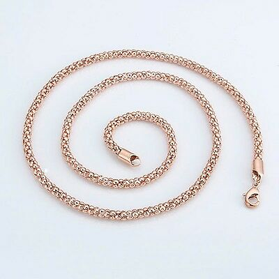 """Charm Chain 24""""Link Fashion Jewelry 18k Rose Gold Filled Mens/Womens Necklace"""