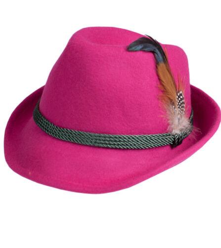 Schuhmacher Trachten Hut HT750 pink mit Feder