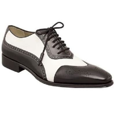 Mens Spectator Formal Shoes White /& Black Leather Two Tone Dress Lace Up Boots