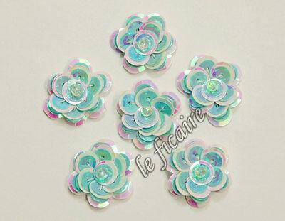 """1"""" 2-Color Iridescent Sequin Flower Appliques x 30 Blue"""