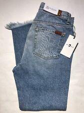Seven 7 For All Mankind Josefina Skinny Boyfriend Distressed Capri Jeans Wms 25