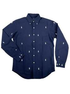 Ralph-Lauren-Polo-Mens-All-Over-Pony-Logo-Button-Down-Shirt-Navy-White-New