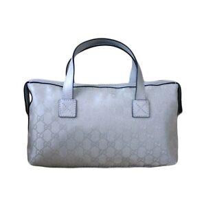 78efbf99824e NEW Authentic GUCCI GG Silver Canvas Boston Bag Bowling bag Handbag ...