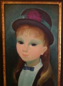 Guy-Seradour-039-Jeune-Fille-dans-le-Chapeau-039-Original-Portrait-Painting-Art-Decor