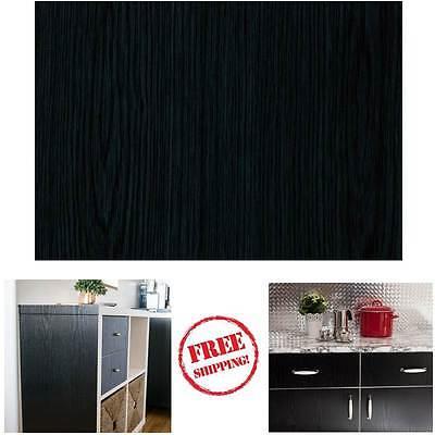 NEW DIY Kitchen Worktop Black Wood Vinyl Cover Self Adhesive Sticky Back Wrap