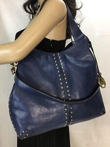 76e7309c5 Image is loading Michael-Kors-Blue-Leather-Astor-Studded-Shoulder-Tote-