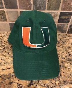 Miami Hurricanes NCAA Vintage Adjustable Strap Hat Cap Green