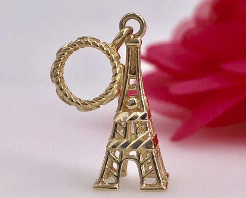 Tour Eiffel avec tube caution /& 14K Or Jaune 3D Charm//Pendentif NEUF