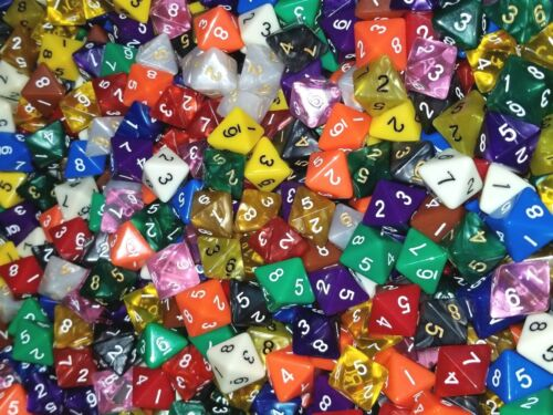 25 D8 Random Color Polyhedral Dice Set 8 Sided HDDice Lot Gaming D/&D RPG