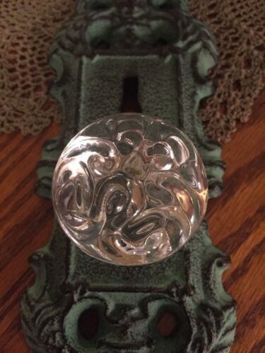 Cast Iron Door Plate With Acrylic//Glass Knob Ornate Turquoise//Teal Accent