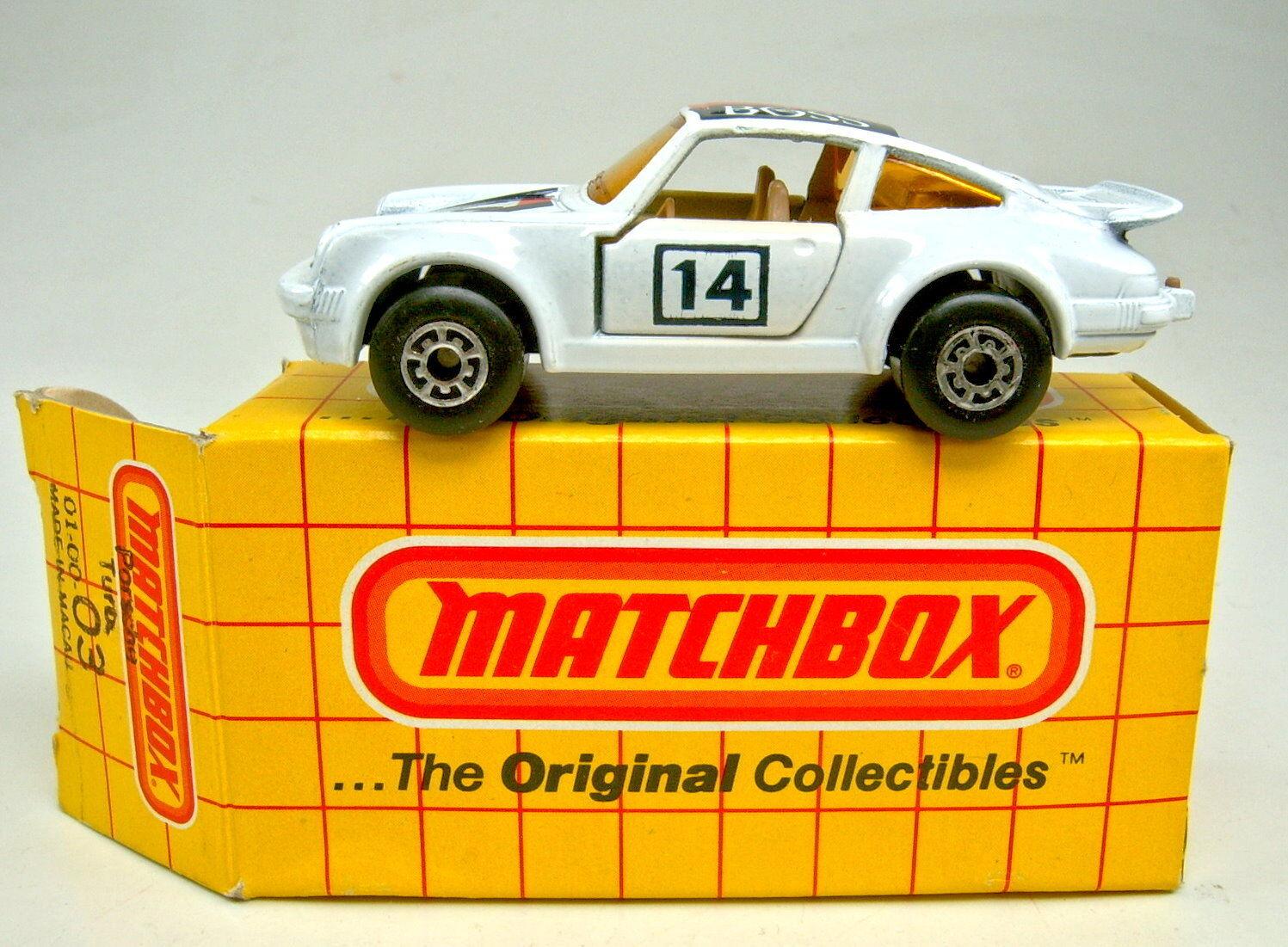 Matchbox Superfast Nr.03C Porsche turbo white  Boss  browne Einr. top in Box