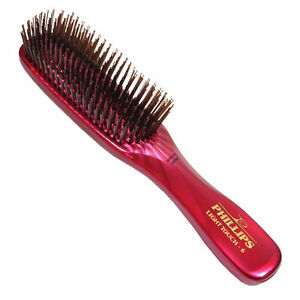 Phillips-Light-Touch-6-GEM-RUBY-8-034-nylon-bristle-Hair-Brush