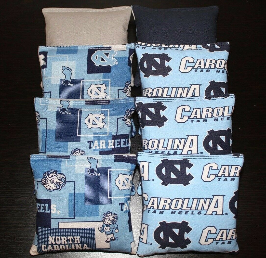 8 All Weather NORTH CAROLINA TARHEELS Cornhole Bean Bags Resin Filled Game Toss