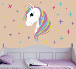 Colourful-Patterned-Unicorn-amp-Stars-Wall-Art-Vinyl-Sticker-Bedroom-Transfer