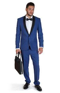 Slim Fit Men Suit Indigo Blue 1 Button Shawl Suede Collar Lapel