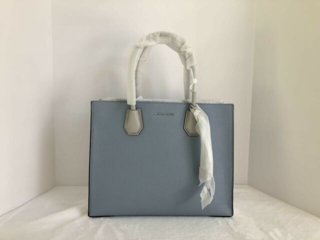 b515c8f3c553 Michael Kors Mercer Large Leather Convertible Tote Pale Blue White Grey  Silver