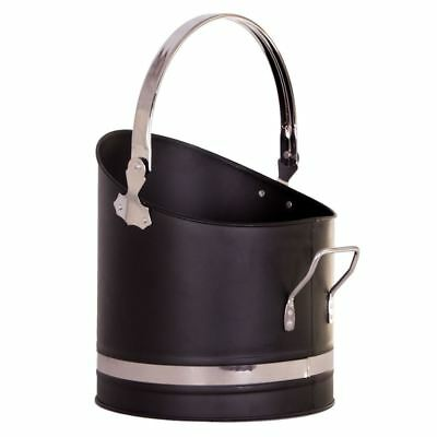 Coal Bucket Black Chrome 21 Scuttle Fireside Fireplace Storage By Home Discount