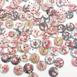 50-100pcs-Mix-flowers-Wood-Buttons-15mm-Sewing-Craft-Lots-WB662